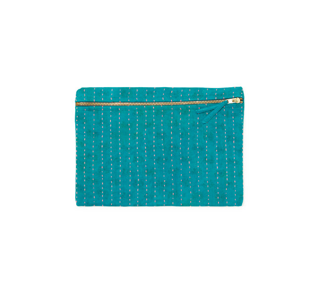 Small Kantha Pouch - Teal