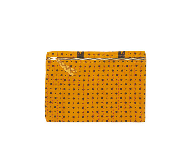 Small Kantha Pouch - Deep Yellow Dots