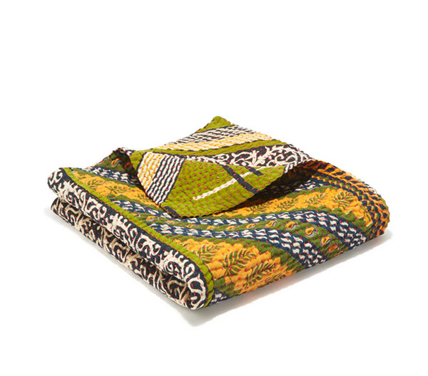 Small Kantha Quilt - Green & Blue Geo