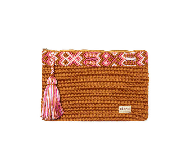 Chiapas Clutch Handbag - Gold & Pink