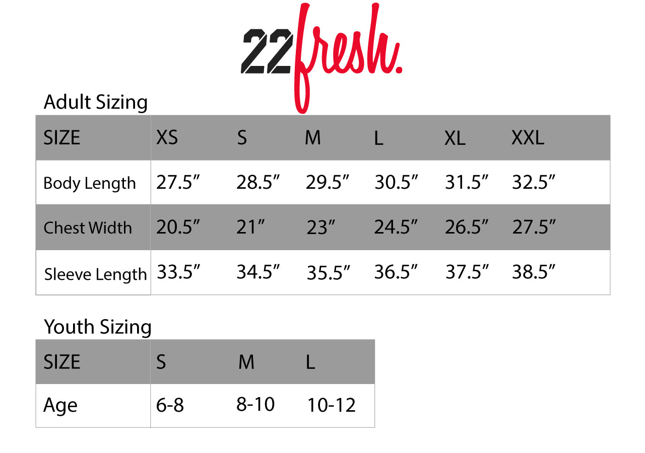 22Fresh size and fit information for men's, women's, unisex, and youth size profiles.