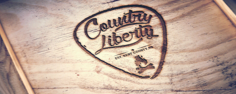 Country Liberty Brand Image Stained onto Wood