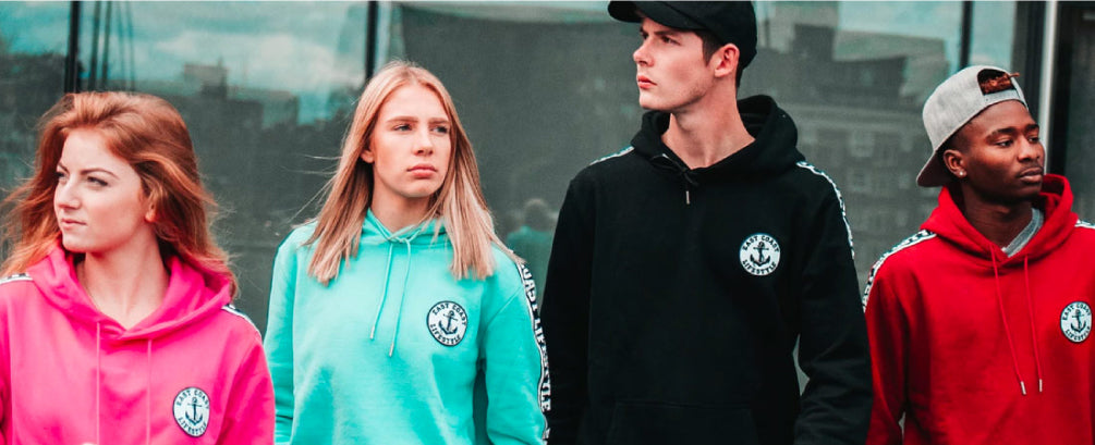 Shop East Coast Lifestyle. Canadian brand featuring a group of friends, 2 women and 2 men wearing East Coast Lifestyle hoodies.
