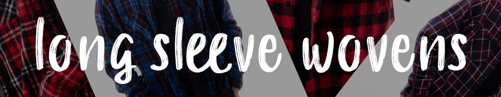 shop long sleeve wovens and flannels online at Below The Belt