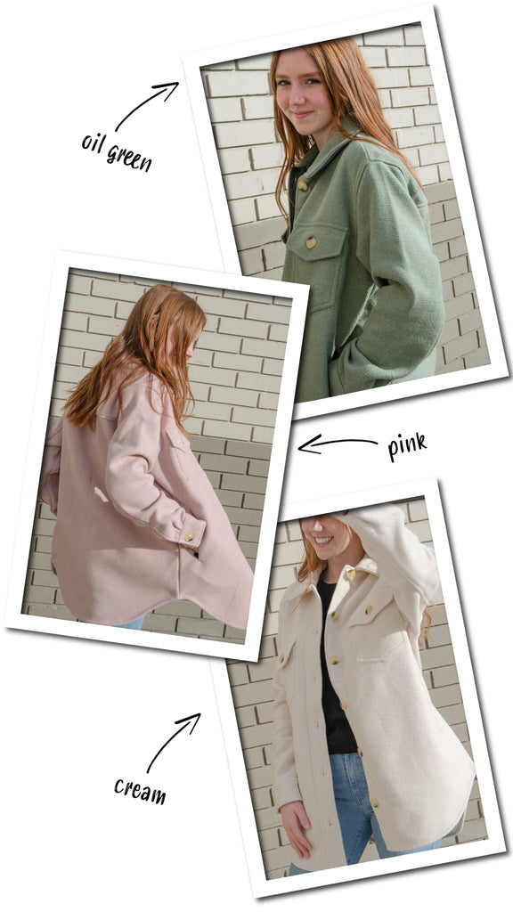 Shop the shacket in three new colours, including oil green, pink, and cream!