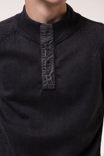 Acid Wash Henley Sweater - BLK