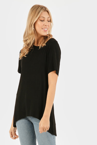 Strappy Tunic Tee - BLK