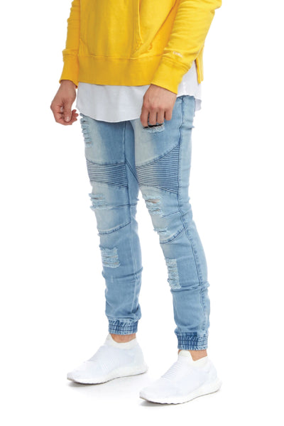 Biker Denim Jogger - Kamikaze Bleach