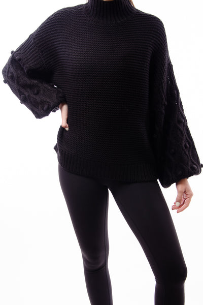 Bubble Dot Sweater - BLK