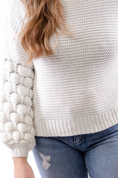Bubble Sleeve Sweater - WHT