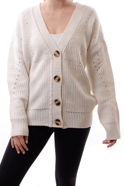 Button Cardigan - WHT