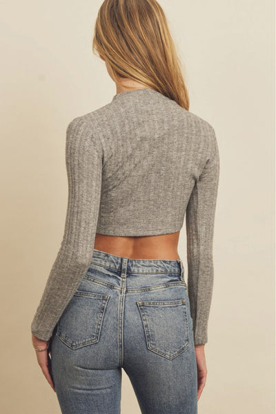 Cropped Long Sleeve Knit Top - GRY