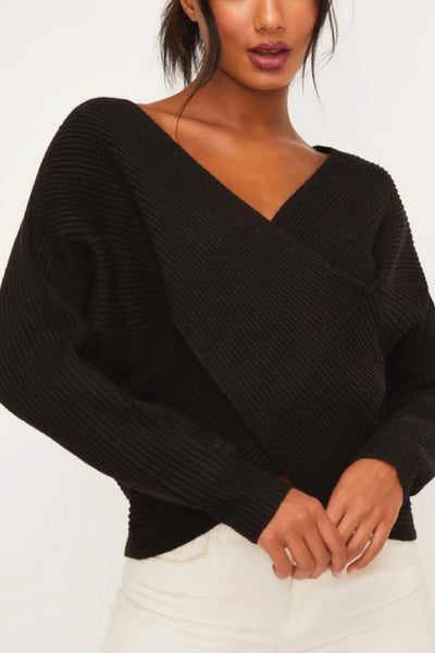 Crossover Ribbed Sweater - BLK
