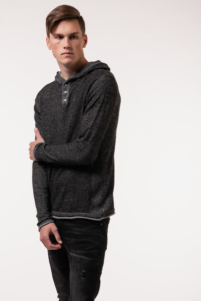 Fraser Hooded Henley - BLK
