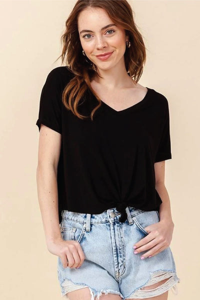 Knotted Waist Tee - BLK