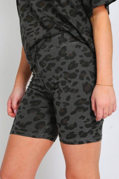 Slate Leopard Bike Shorts - SLE