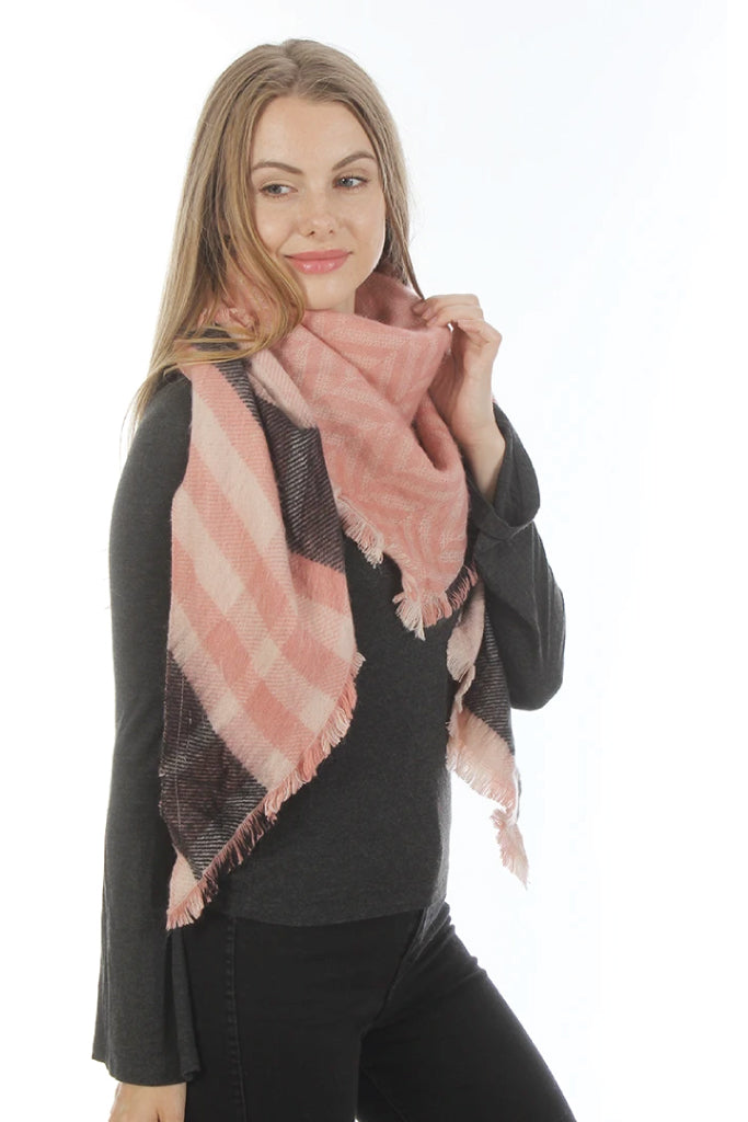 Reversible Plaid Blanket Scarf - PNK