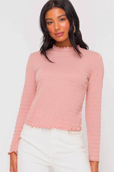 Ruffle Edge Long Sleeve - PNK