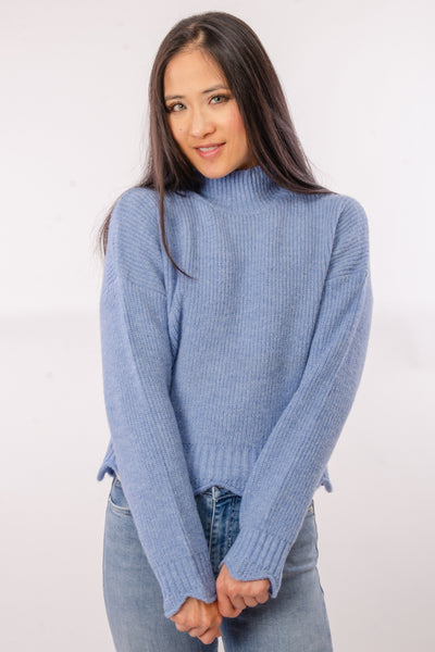 Scallop Edge Sweater - BLU