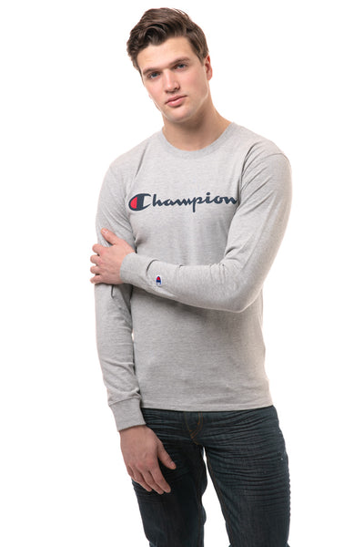 Script Logo Long Sleeve Tee - Oxford Grey