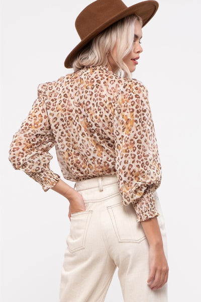 Sheer Leopard Blouse - BRN