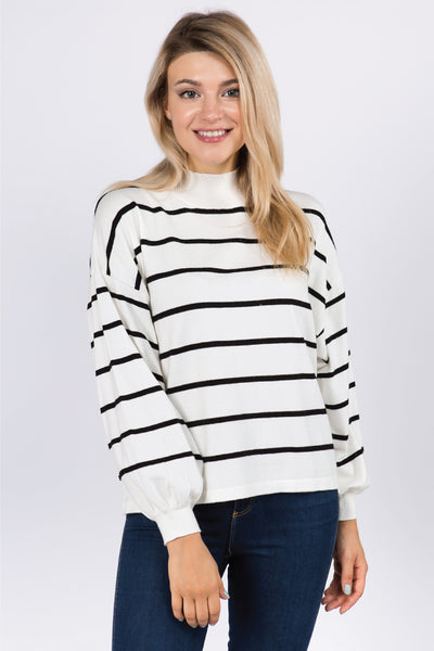 Stripe Balloon Sleeve Sweater - WHT