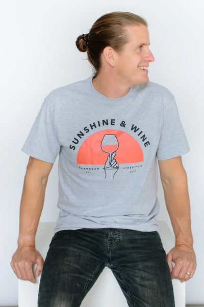 Sunshine And Wine Unisex Tee - GREY