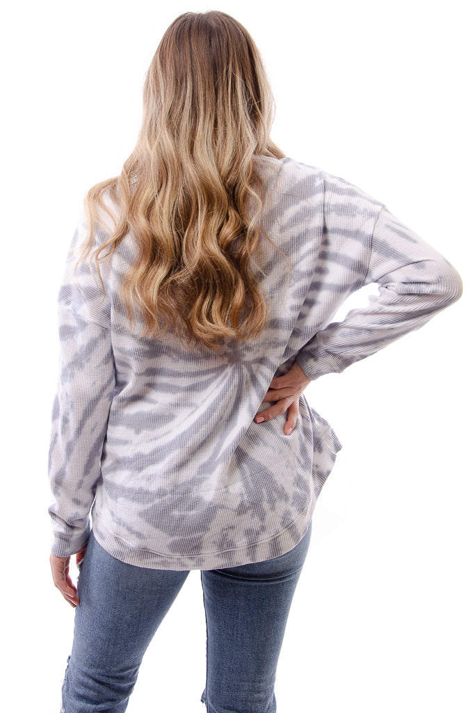 Swirl Dye High Low Lounge Top - GRY