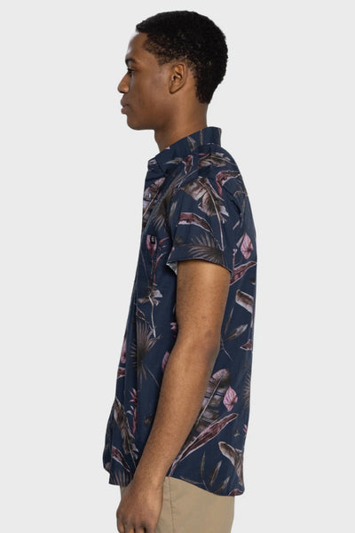 Tropical Floral Short Sleeve Button Up - NVY