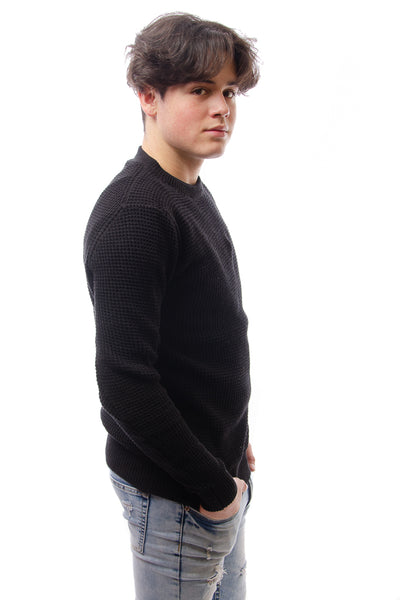 Waffle Crew Sweater - BLK