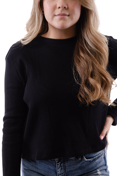 Waffle Lounge Top - BLK