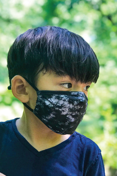 Youth Black Tie Dye Face Mask - BLK