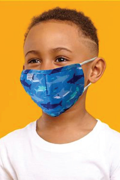 Youth Shark 5 Layer Reusable Face Mask - BLU