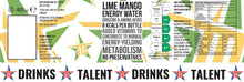 36 x LIME MANGO ENERGY WATER WITH GINSENG, AMINO ACIDS & VITAMINS