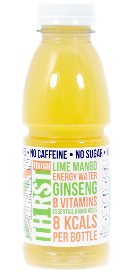 12 x TH1RST LIME MANGO ENERGY WATER WITH GINSENG, AMINO ACIDS & VITAMINS (400ml)