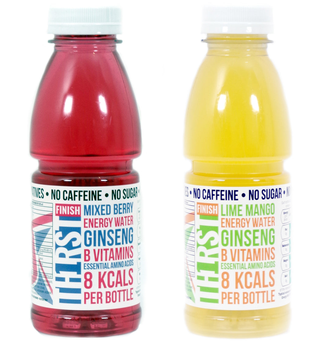 36 x TH1RST (12 x LIME MANGO & 24 x MIXED BERRY) ENERGY WATER WITH GINSENG, AMINO ACIDS & VITAMINS (400ml)