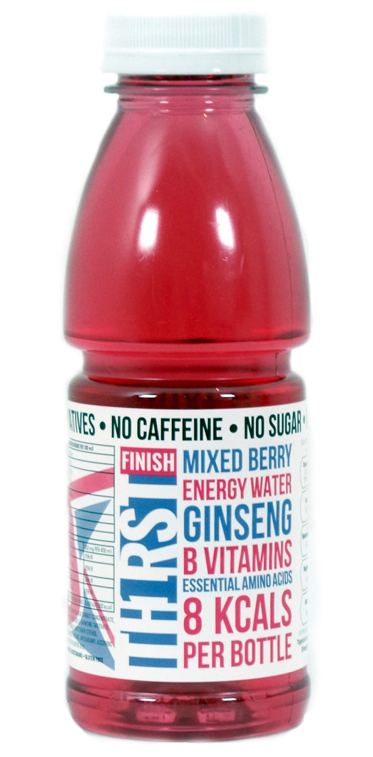 12 x TH1RST MIXED BERRY ENERGY WATER WITH GINSENG, AMINO ACIDS & VITAMINS (400ml)