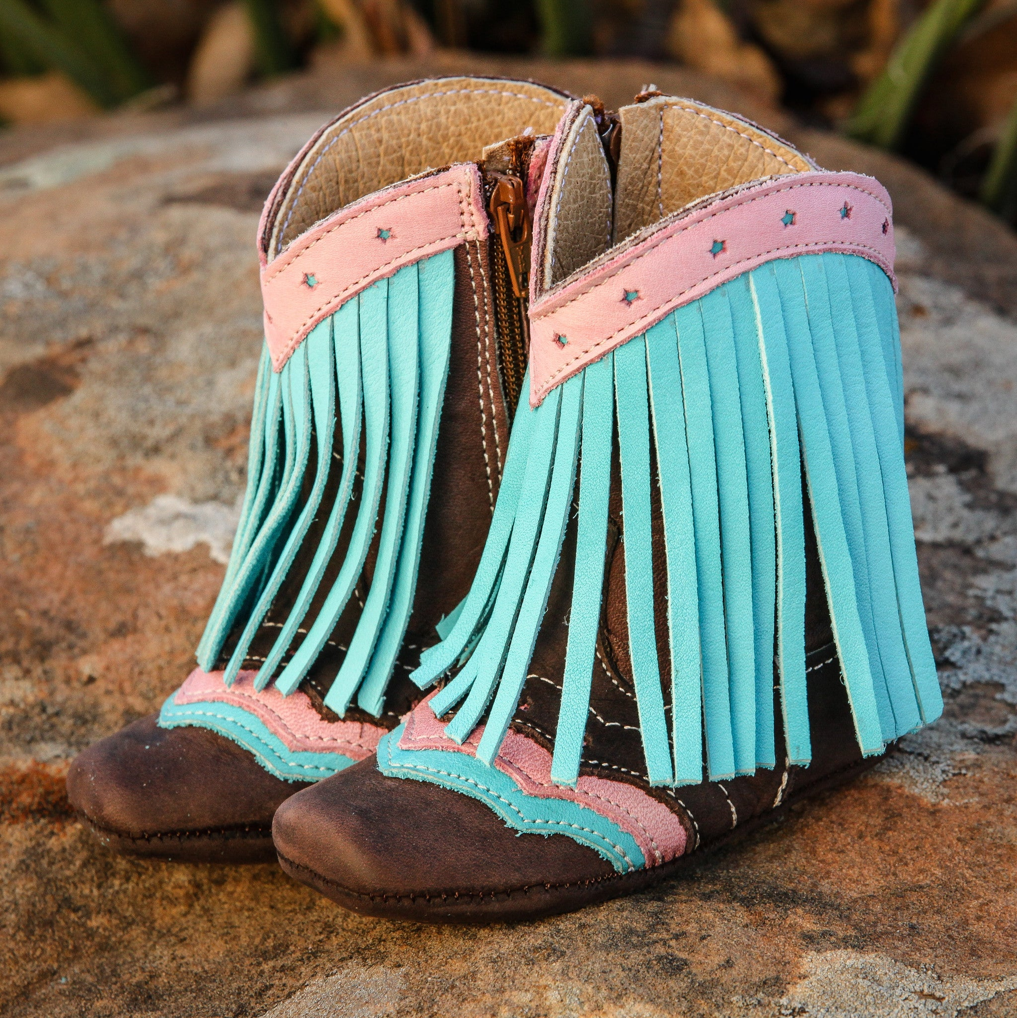 """Lyddie"" Forever Fringe Boots - Turquoise"