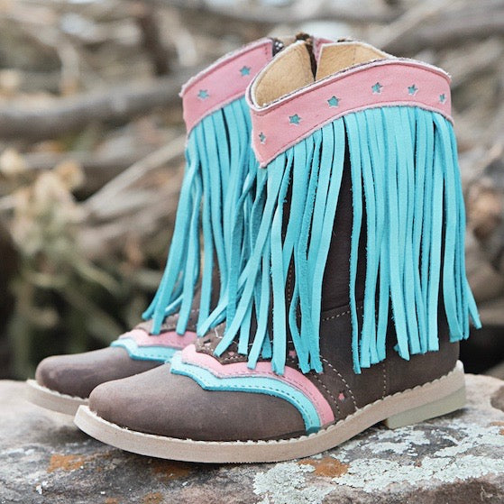 """Lyddie"" Turquoise Fringe Toddler Boots"