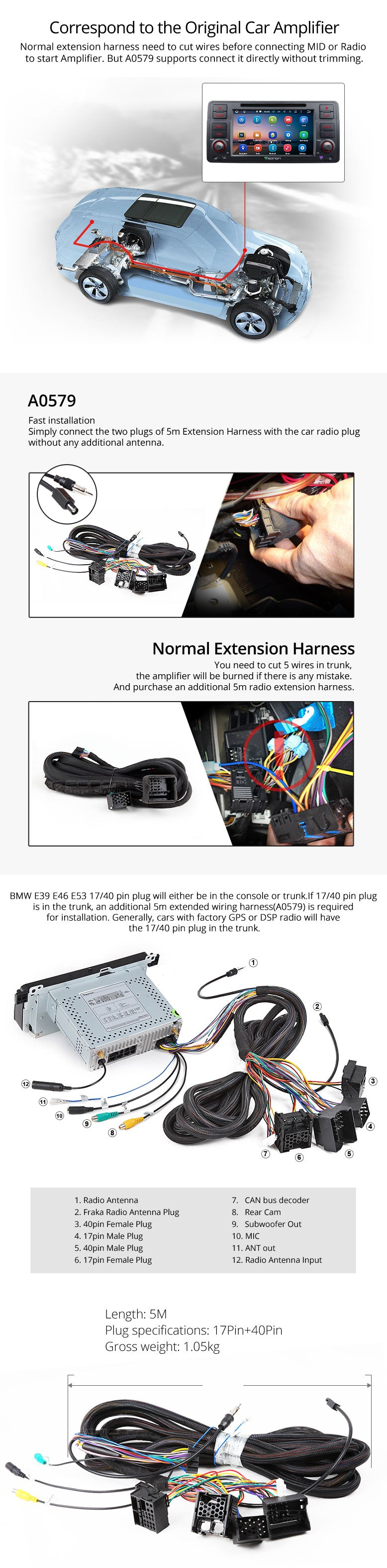 Eonon A0579 Bmw Extended Power Wiring Harness For Select How To Connect Install Method 2