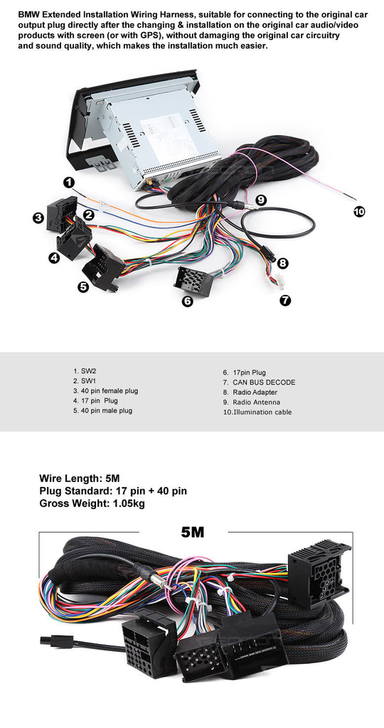 15016_1024x1024?v=1488508313 eonon a0573 bmw extended power wiring harness for d5150v, d5150z,Wiring Harness Bmw Cable 40 Pin Extended Installation
