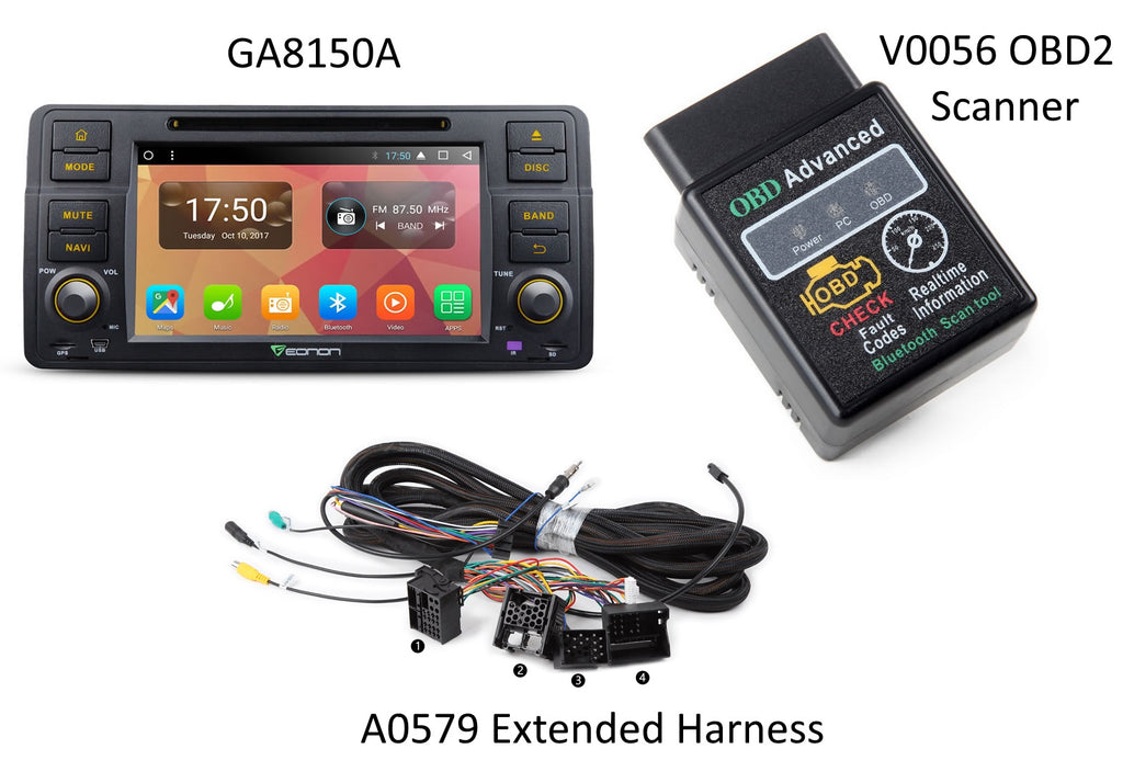 Eonon GA8150A + A0579 Extended Harness + V0056 OBD2 Scanner BUNDLE ($25 Discount)
