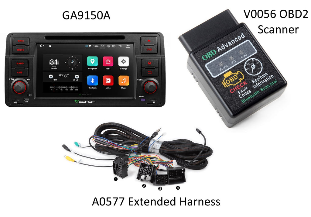 Eonon GA9150A + A0577 Extended Harness + V0056 OBD2 Scanner BUNDLE ($35 Discount)