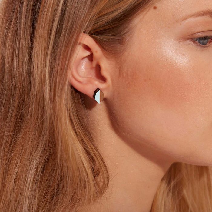 Evelyn Wood and Aqua Green Geometric Stud Earrings
