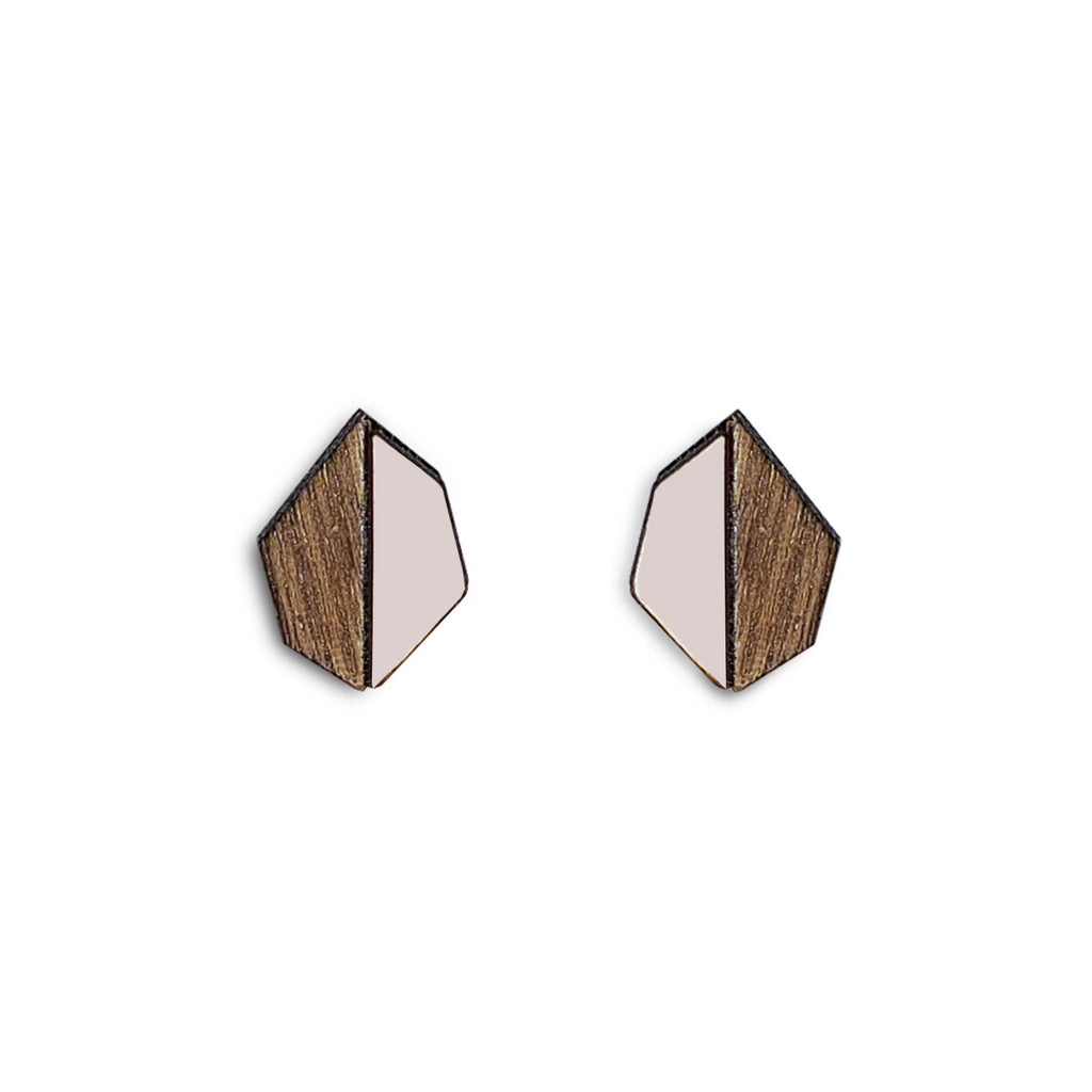 Evelyn studs, geometric earrings with pink Formica, walnut wood and sterling silver posts