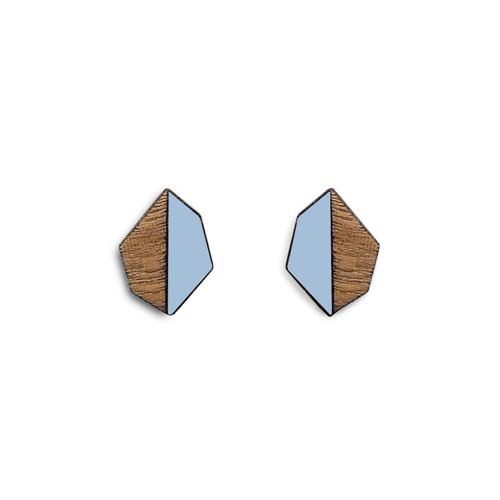 Evelyn studs, geometric earrings with blue Formica, walnut wood and sterling silver posts