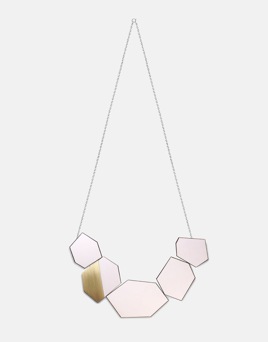 wooden geometric necklace in pink and brass