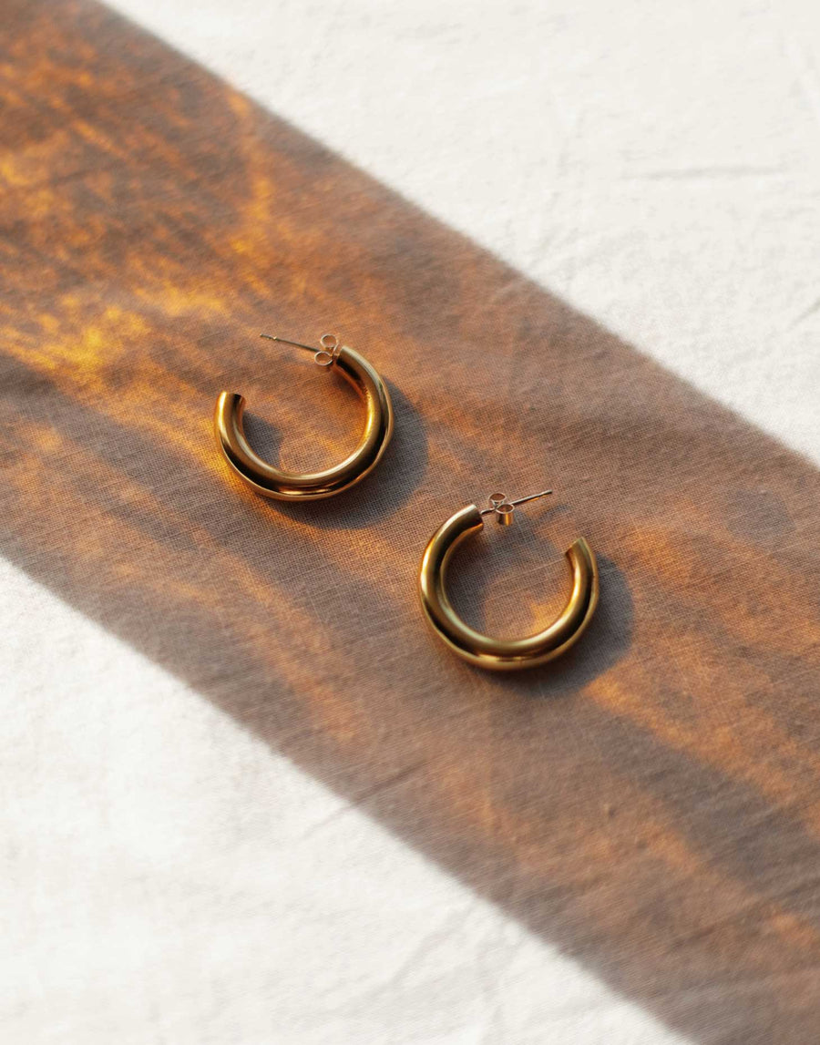 chunky eco brass hoops with silver posts