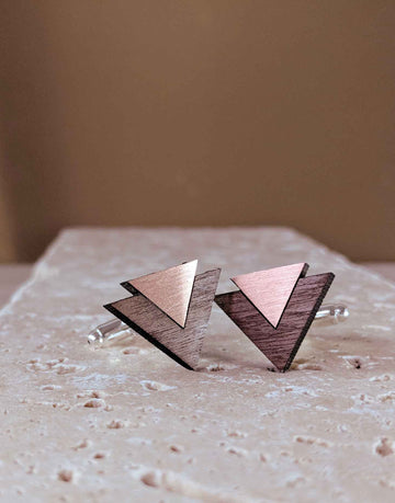 geometric cufflinks in wood and copper
