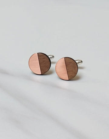 round copper and wood cufflinks